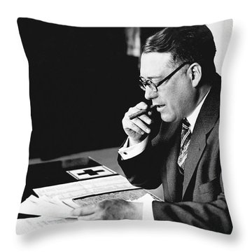 Portrait Of Elmer Irey Throw Pillow by Underwood Archives