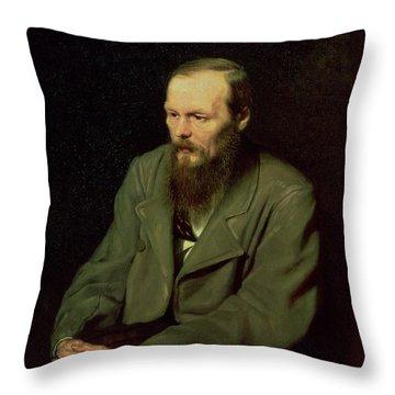 Portrait Of Fyodor Dostoyevsky Throw Pillow by Vasili Grigorevich Perov