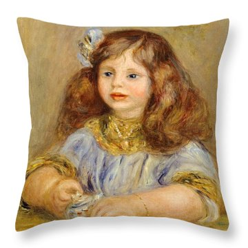 Portrait Of Genevieve Bernheim De Villiers Throw Pillow by Pierre-Auguste Renoir
