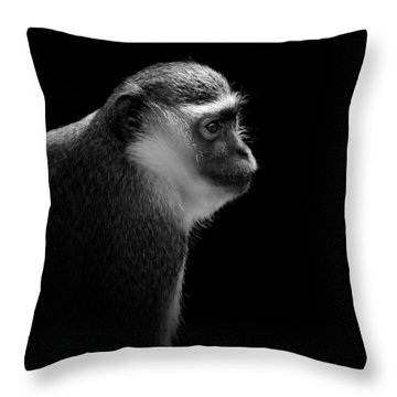 Portrait Of Green Monkey In Black And White Throw Pillow
