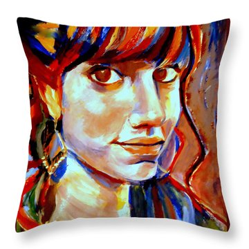 Portrait Of Ivana Throw Pillow by Helena Wierzbicki