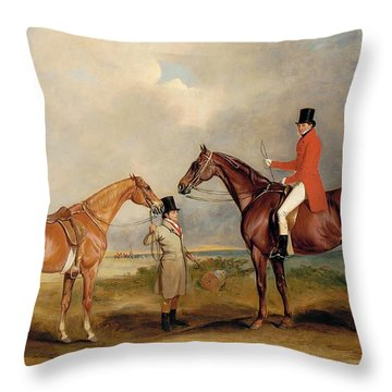 Portrait Of John Drummond On A Hunter With A Groom Holding His Second Horse Throw Pillow by John E Ferneley