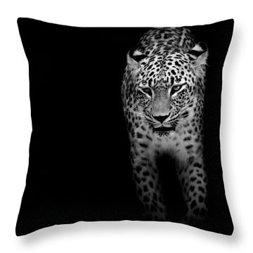Portrait Of Leopard In Black And White II Throw Pillow