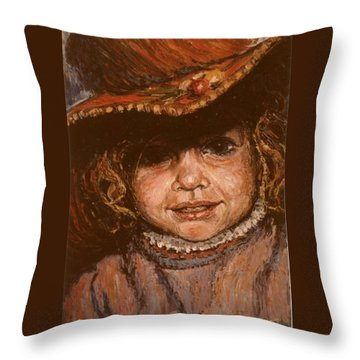 Throw Pillow featuring the painting Portrait Of Leticia by Walter Casaravilla