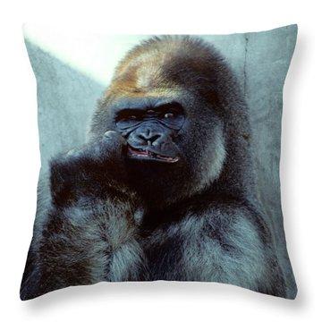 Portrait Of Male Gorilla Gorilla Gorilla Throw Pillow