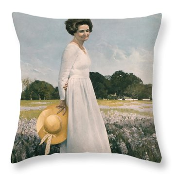 Portrait Of Mrs Lyndon B Johnson Throw Pillow by Mountain Dreams