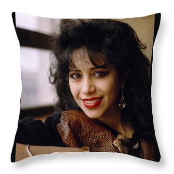 Portrait Of Ofra Haza Throw Pillow by Shaun Higson