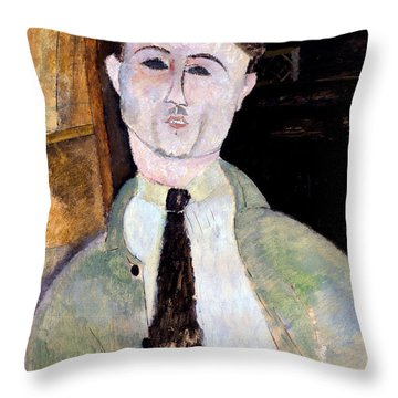 Portrait Of Paul Guillaume Throw Pillow by Amedeo Modigliani