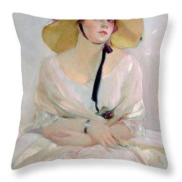 Portrait Of Raquel Meller Throw Pillow by Joaquin Sorolla y Bastida