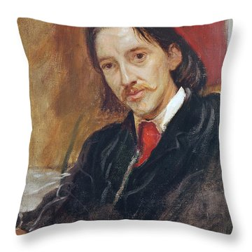 Portrait Of Robert Louis Stevenson Throw Pillow by Sir William Blake Richomond