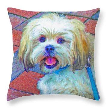 Portrait Of Shih Tzu Throw Pillow by Jane Schnetlage