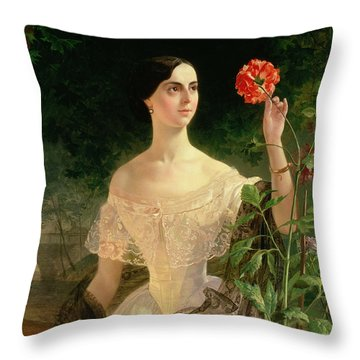 Portrait Of Sofia Andreyevna Shuvalova Throw Pillow by Karl Pavlovich Bryullov