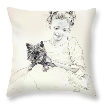 Throw Pillow featuring the drawing Portrait Of Sylwia by Anna Ewa Miarczynska