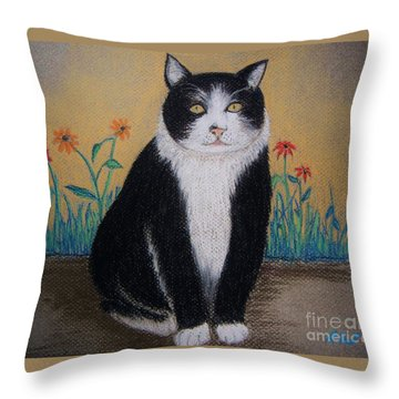 Portrait Of Teddy The Ninja Cat Throw Pillow by Reb Frost