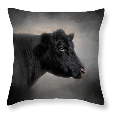 Portrait Of The Black Angus Throw Pillow