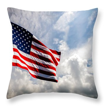 Portrait Of The United States Of America Flag Throw Pillow by Bob Orsillo