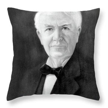 Portrait Of Thomas A. Edison As Senior Throw Pillow