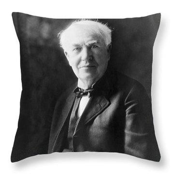 Portrait Of Thomas Edison Throw Pillow