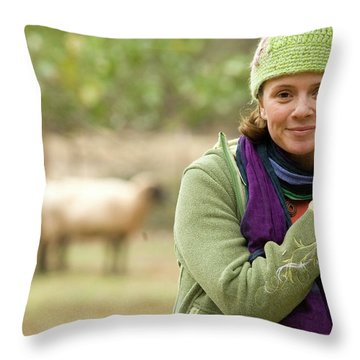 Portrait Of Young Woman Working Throw Pillow