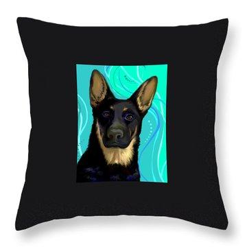 Throw Pillow featuring the digital art Portrait Of A German Shepherd Dog by Karon Melillo DeVega