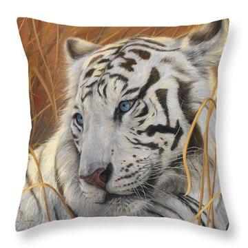 Portrait White Tiger 1 Throw Pillow