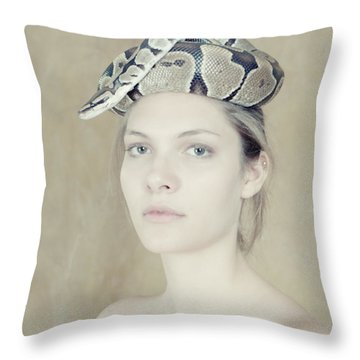 Portrait With The Snake Throw Pillow by Zina Zinchik