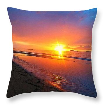 Portrush Sunset Throw Pillow by Tara Potts