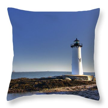 Portsmouth And The Whaleback Throw Pillow by Joann Vitali