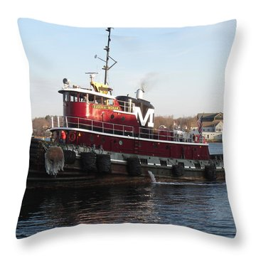 Portsmouth Harbor Tug Boat Winter Throw Pillow