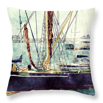Portsmouth Harbour Boats Throw Pillow