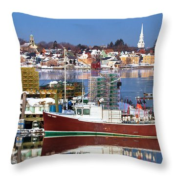 Portsmouth Lobster Boat Throw Pillow