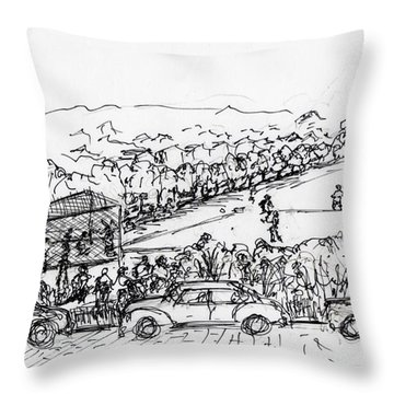 Portsmouth Ohio The Ball Field At 17th And Mound Throw Pillow by Frank Hunter