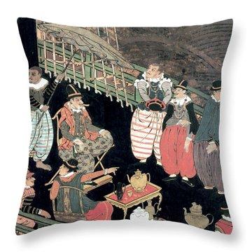 Portuguese Merchants Awaiting Throw Pillow