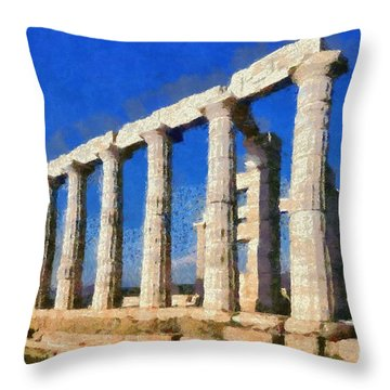 Poseidon Temple Throw Pillow by George Atsametakis