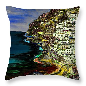 Positano At Night Throw Pillow
