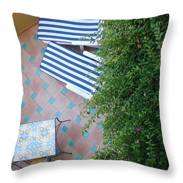 Positano - Balcony View - Lounge Chairs Throw Pillow