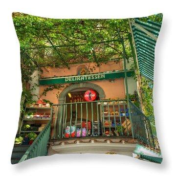 Positano Deli Throw Pillow by Bob and Nancy Kendrick