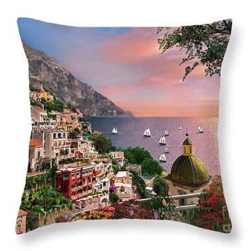Positano Throw Pillow by Dominic Davison