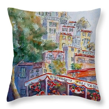 Positano Restaurant Throw Pillow