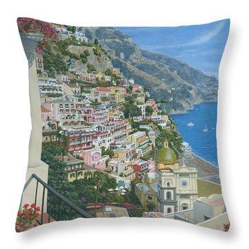 Positano Vista Amalfi Coast Italy Throw Pillow