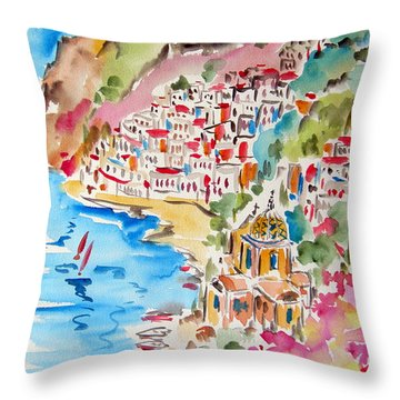 Positano Water Color Throw Pillow