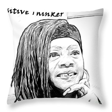 Positive Thinker Blk/wht Throw Pillow by Jacqueline Lloyd