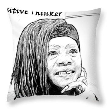 Positive Thinker Blk/wht Throw Pillow
