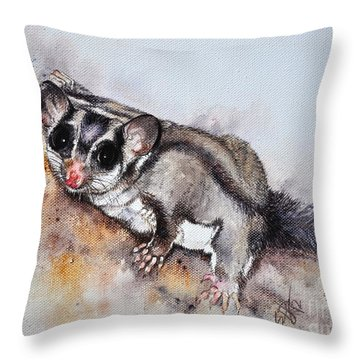 Possum Cute Sugar Glider Throw Pillow by Sandra Phryce-Jones