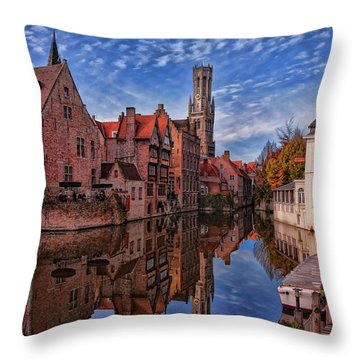Postcard Canal Throw Pillow by Joan Carroll