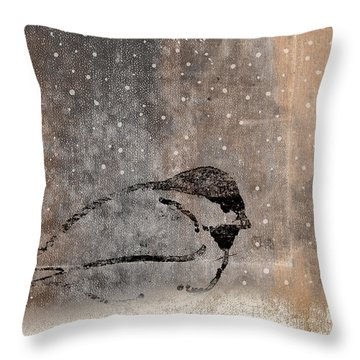 Postcard Chickadee In The Snow Throw Pillow