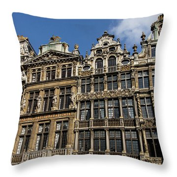 Throw Pillow featuring the photograph Postcard From Brussels - Grand Place Elegant Facades by Georgia Mizuleva
