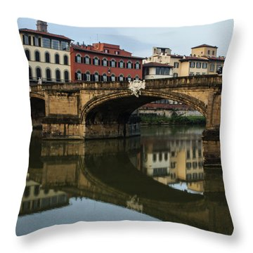 Throw Pillow featuring the photograph Postcard From Florence  by Georgia Mizuleva