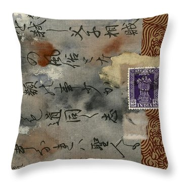 Postcard From India Collage Throw Pillow