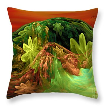 Throw Pillow featuring the digital art Postcard From La-la Land - Abstract Fantasy By Giada Rossi by Giada Rossi
